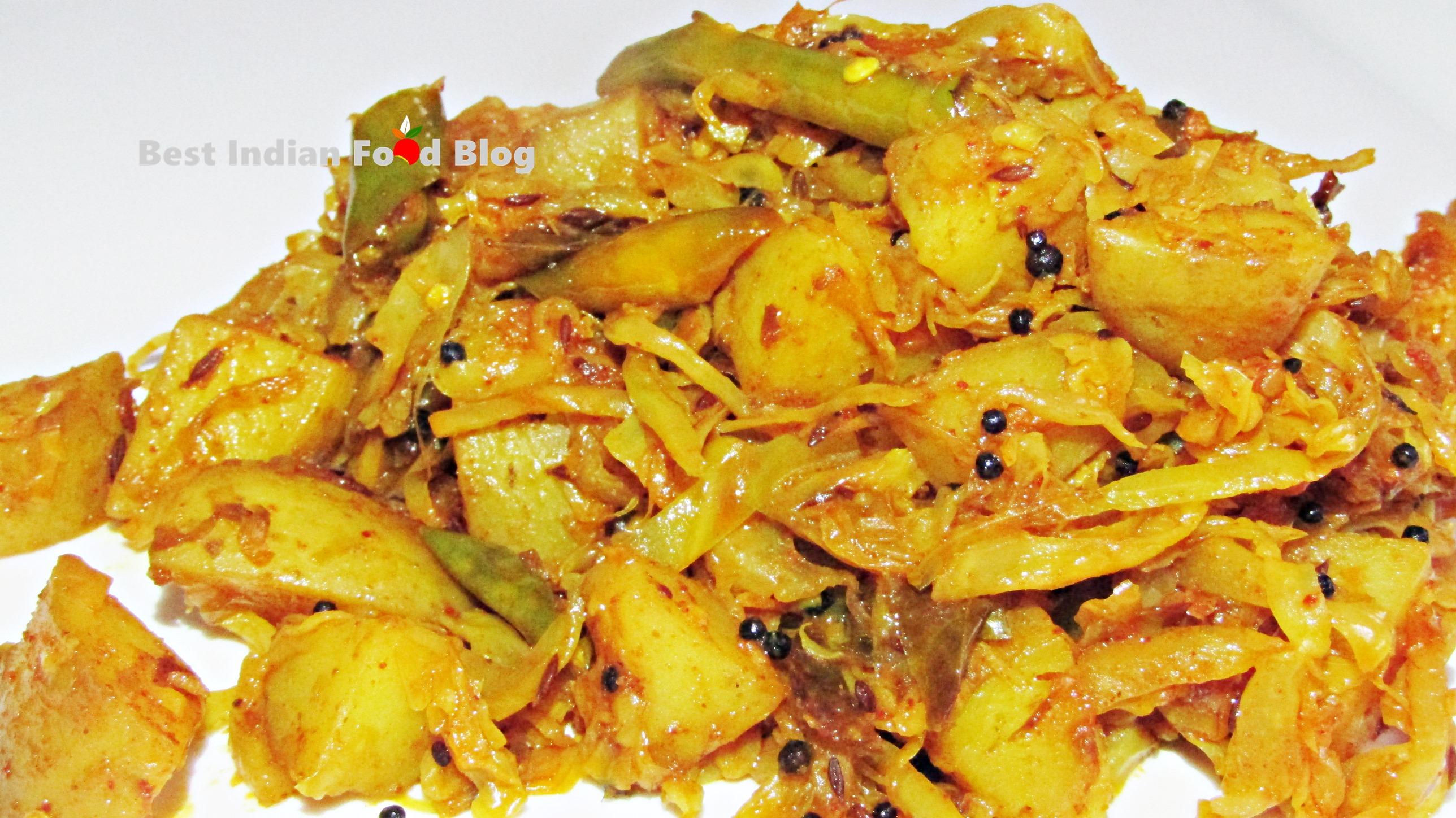 Kobi Bateka nu Shaak from Gujarat, India   Best Indian Food Blog   Cabbage Potato recipe