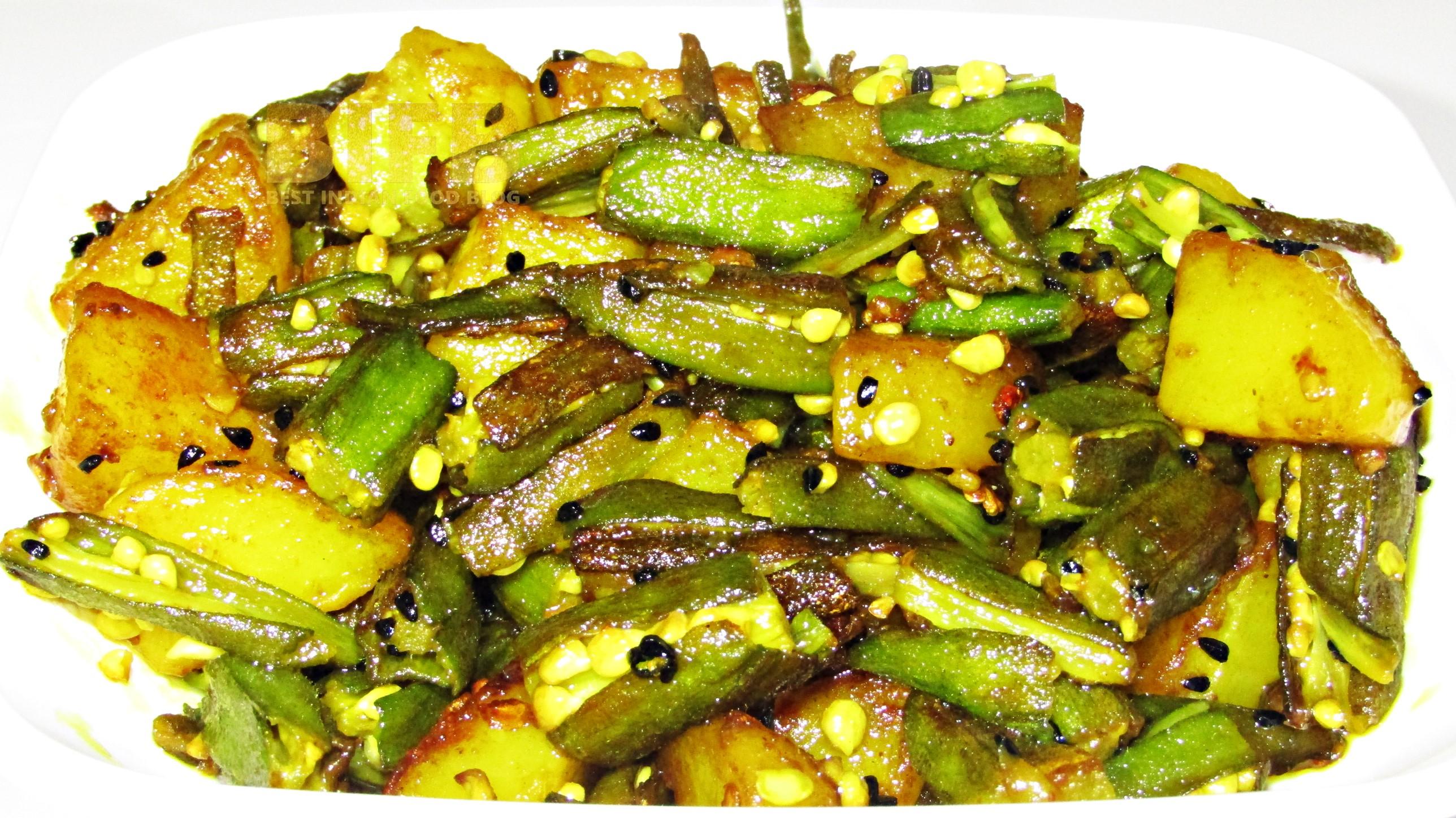 Bhendi Alu Bhaja from Andaman and Nicobar Islands, India | Best Indian Food Blog | Okra, Potato recipe